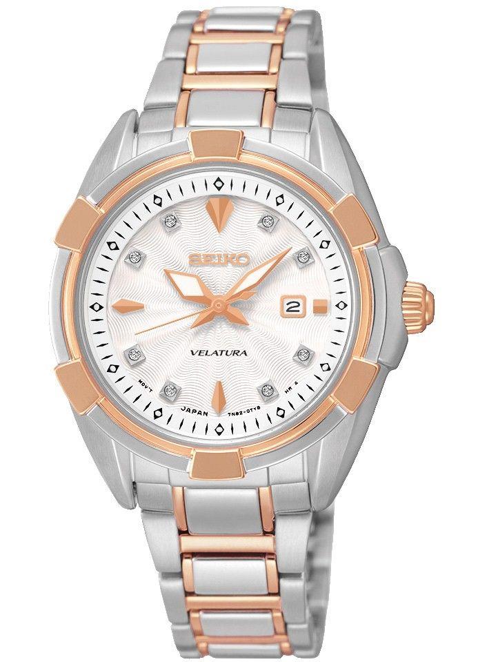 Flot Seiko dameur med 8 diamanter - Seiko Velatura Silver/Rose Gold/White Diamonds SXDG10P1