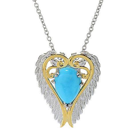 "157-806 - Gems en Vogue 14 x 10mm Kingman Turquoise Angel Wing Pendant w/ 18"" Cable Chain"