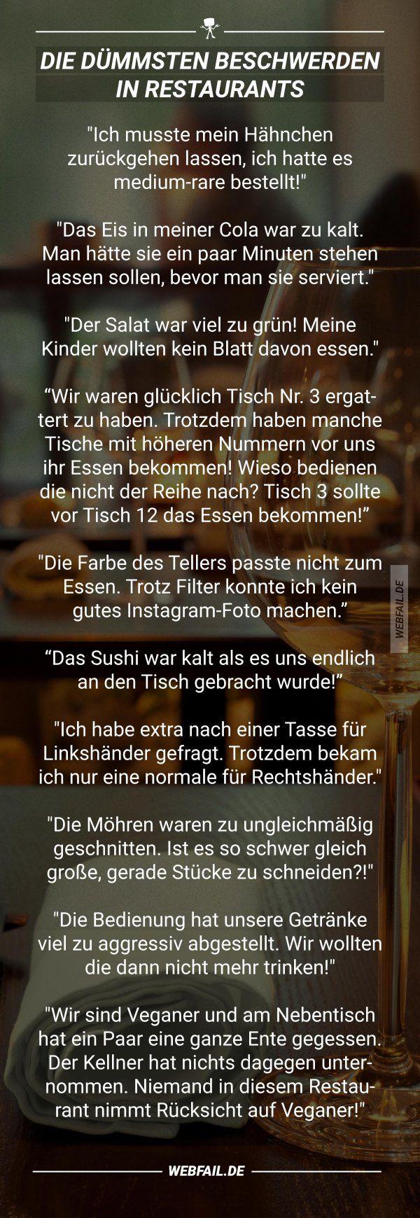 Die dümmsten Beschwerden in Restaurants – Maria Siegl.ms