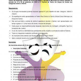 9º Festival de Teatro de Duque de CaxiasCentro de Pesquisas Teatrais de Duque de Caxias e Secretaria Municipal de Cultura realizará noperíodo de 14 a 30 de. http://slidehot.com/resources/regulamento-ficha-pdf.50429/