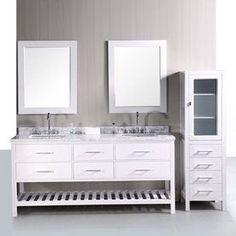 Design Element London Pearl White 72-In Undermount Double Sink Oak Bat