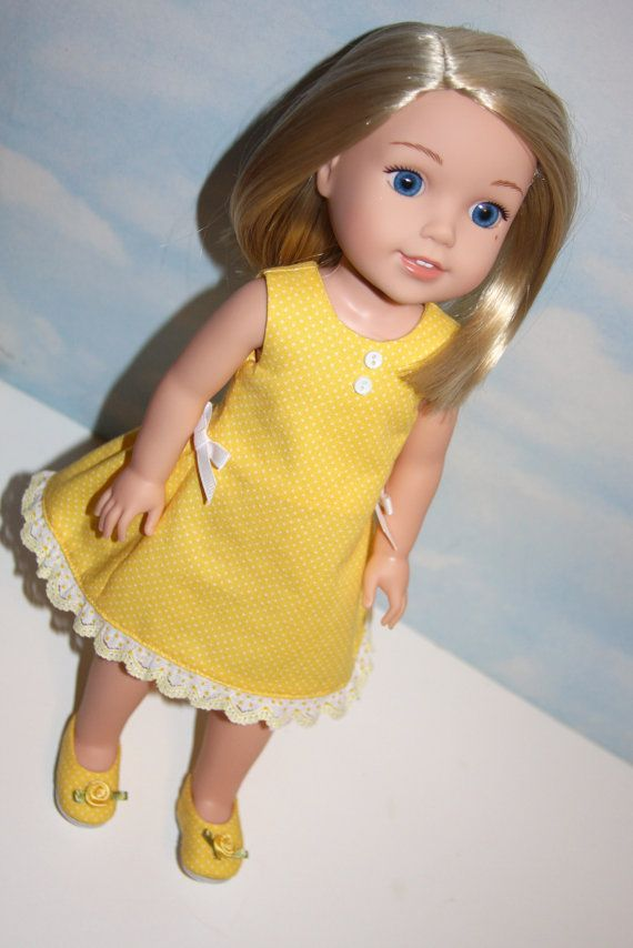 Yellow and white polka dot sleeveless dress with matching shoes by SewLikeBetty on Etsy. Made following the Polka Dot Party Dress and the Plain Janes for WellieWishers Dolls patterns. Find them here http://www.pixiefaire.com/products/plain-jane-shoes-for-welliewishers-dolls. #pixiefaire #polkadotpartydressforwelliewishersdolls #plainjaneshoesforwelliewishersdolls