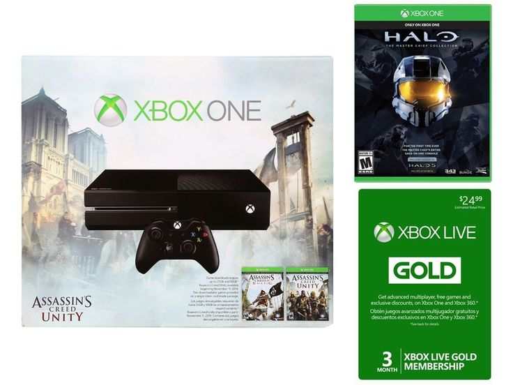 Best xbox deal $349 no tax free shipping Xbox One Assassins Creed Bundle& Halo Master Chief Collection& 3 Month Live Card