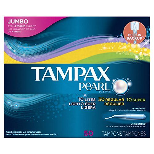 Tampax Pearl Plastic Tampons Triplepack LightRegularSuper Absorbency Unscented 50 Count *** You can find out more details at the link of the image.