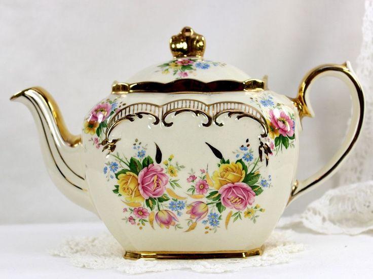 Sadler Vintage Tea Pot, Pink and Yellow Roses & Scroll Gilding