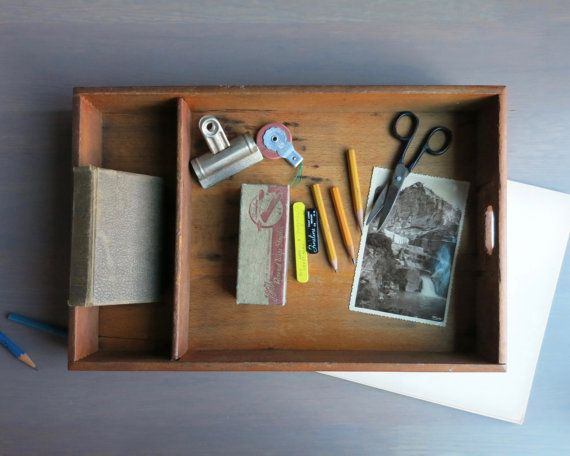 Rustic desk organizer | Drawer organizer | Paper tray | Kitchen serving tray | TV dinner tray