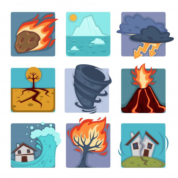 Natural Disasters Set Desastres Naturales Desastres Naturales Dibujos Iconos Planos