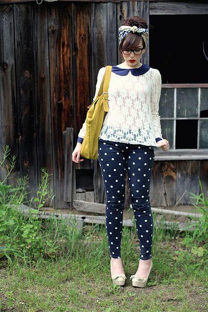 peterpan top with polka dot pants & bandanna, love this look!