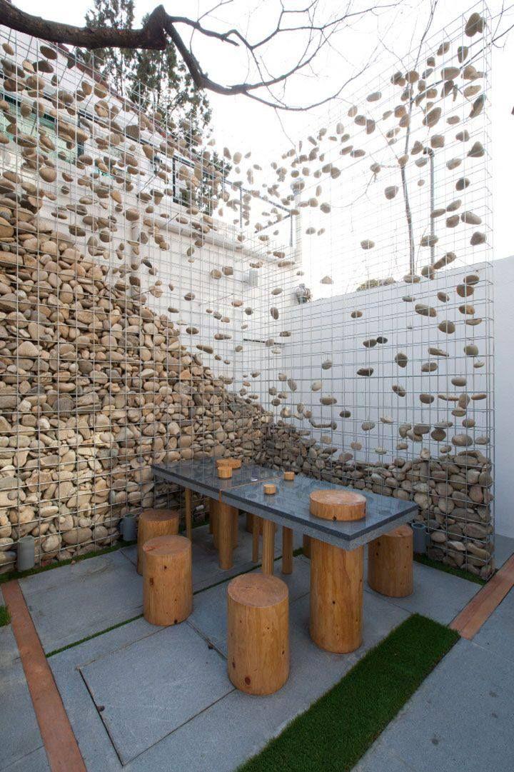Stone Gabion Wall By Design BONO, Seoul (720×