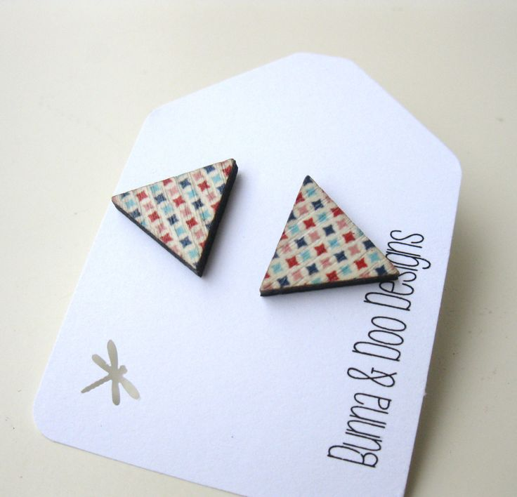 Geometric Triangle Wood Earrings.  Triangle Stud Earrings. by BunnaAndDooDesigns on Etsy
