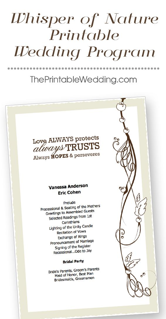 Invite friends and family to witness your wedding day with this natural design of blossoms, vines and twigs. Swirling, curling elements intertwine with leaves, berries and buds. Stylish elegant lettering evokes feelings of class and sophistication with this 8.5 x 11 design. The true definition of love derived from Corinthians is displayed across the header and conveys a day of genuine adoration. - See more at…