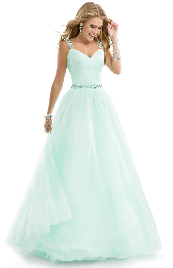 Flirt Prom 2014 dress style P4832   Tulle ball gown with jeweled straps.   The recipe for your best prom yet calls for: a dash of ruched tulle, a hint of eye-catching sparkle, and a heaping spoonful of Flirt. Mix until well combined. Best served with a handsome prom date, or a group of your closest girlfriends.   Available Colors: Lemon Kisses, Electric Teal, Sweet Mint, Blush Whisper