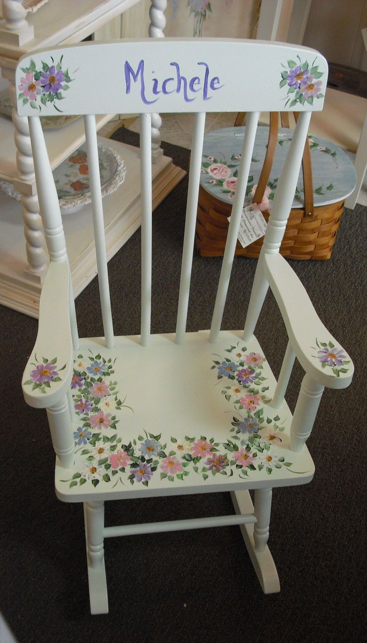 Vintage Childrens Rocking Chair, custom painted with hand painted ...