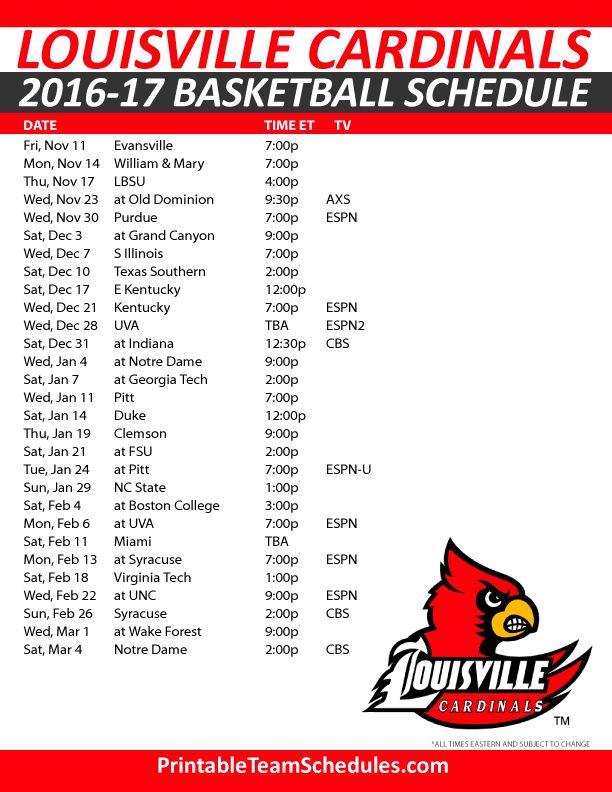 Louisville Cardinals Basketball Schedule 2016-17. Print Here - http://printableteamschedules.com/NCAA/louisvillecardinalsbasketball.php