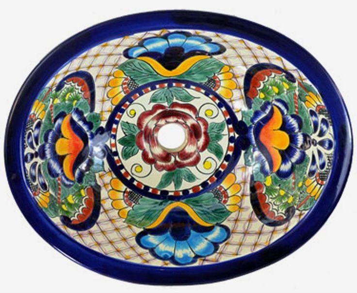 M 190 Mexican Talavera Ceramic SINK Bathroom Wash Basin ...