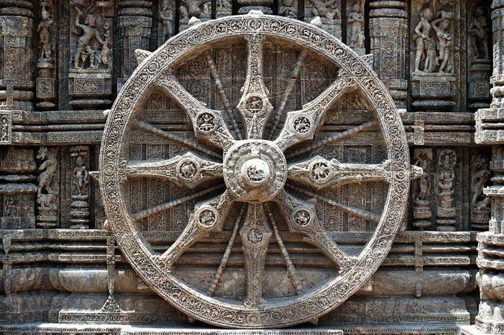 Dharma Wheel -- The Dharmachakra (Skt: wheel of the law with eight spokes) represents the Eightfold Path (Right View, Right Resolve, Right Speech, Right Actions, Right Occupation, Right Effort, Right Mindfulness, and Right Concentration).  Konark Sun temple in Odisha, Odisa, Orissa, India , c. 1200 CE.