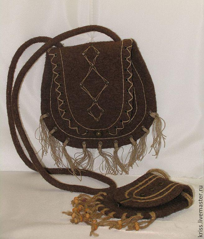 Купить ЭТНО сумка, с сумочкой для ключей - коричневый, подарок, подарок девушке, подарок на любой случай