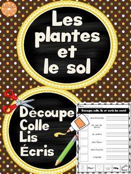 Les plantes et le sol - Découpe et colle. Activité amusante de découpage, de lecture et d'écriture pour acquérir le vocabulaire de cette unité en sciences.