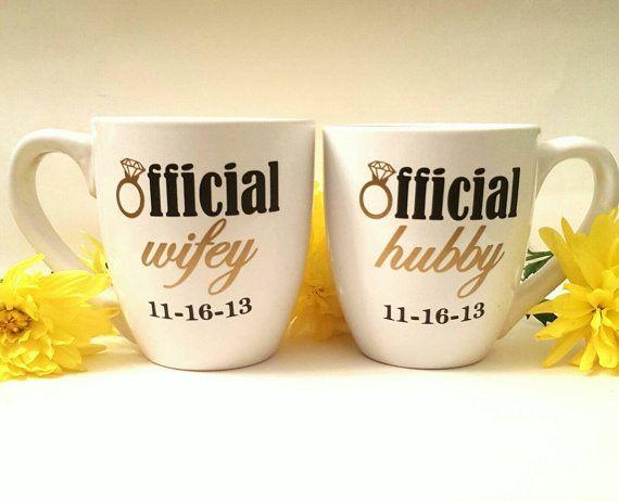 Engagement Mug/ Engagement Gift/ Couples Mugs/ by LaceysLace