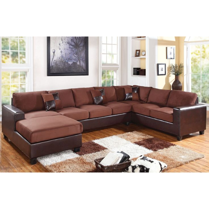 Dannis Chocolate Microfiber Reversible Sectional Sofa By