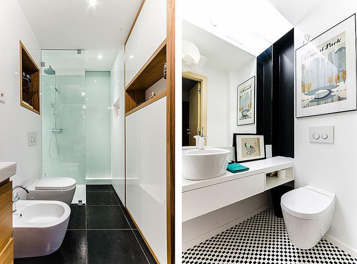 Z lewej łazienka prywatna, oddzielona od sypialni szybą z ruchomą przesłoną. Z prawej toaleta dla gości schowana w sklejkowym kubiku