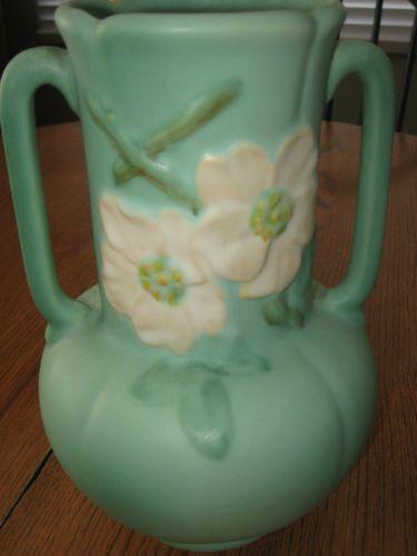 Ebay Kitchen Cabinets >> Vintage Weller Pottery Vase Matte Green Dogwood/Wildrose ...
