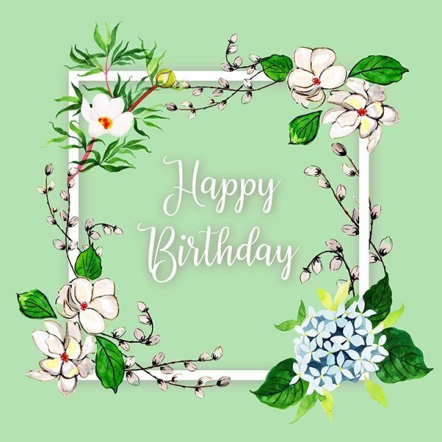 Watercolor Color Floral Flowers Leaf Leaves Background Wallpaper Backdrop Frame Square Floral Watercolor Happy Birthday Frame Happy Birthday Flower
