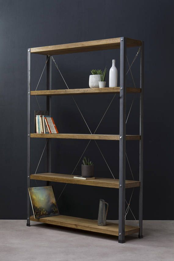 KONK Oak/Steel  Double Depth 30cm Bookcase/Bookshelf
