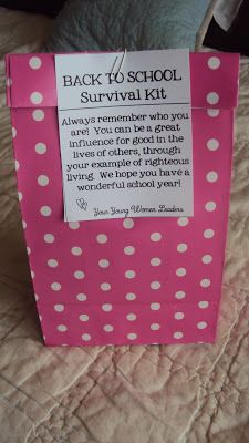 Young Women Back to School Survival Kits!!       What a FUN  way to kick off the new school year!!  Since our first day of school is on a W...