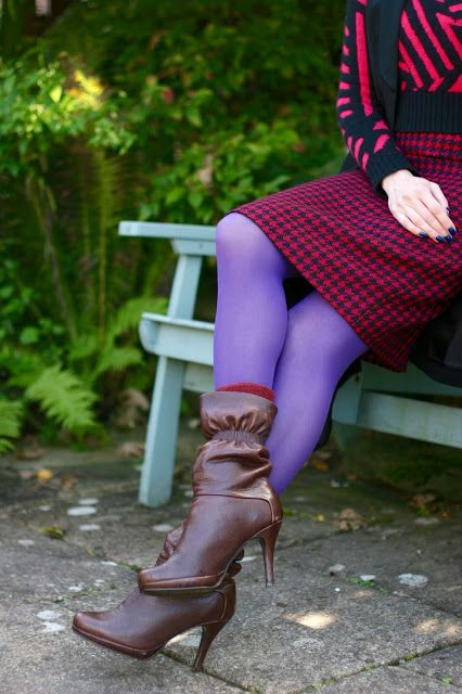 Fake Fabulous: How to wear coloured tights | Vintage pencil skirt...
