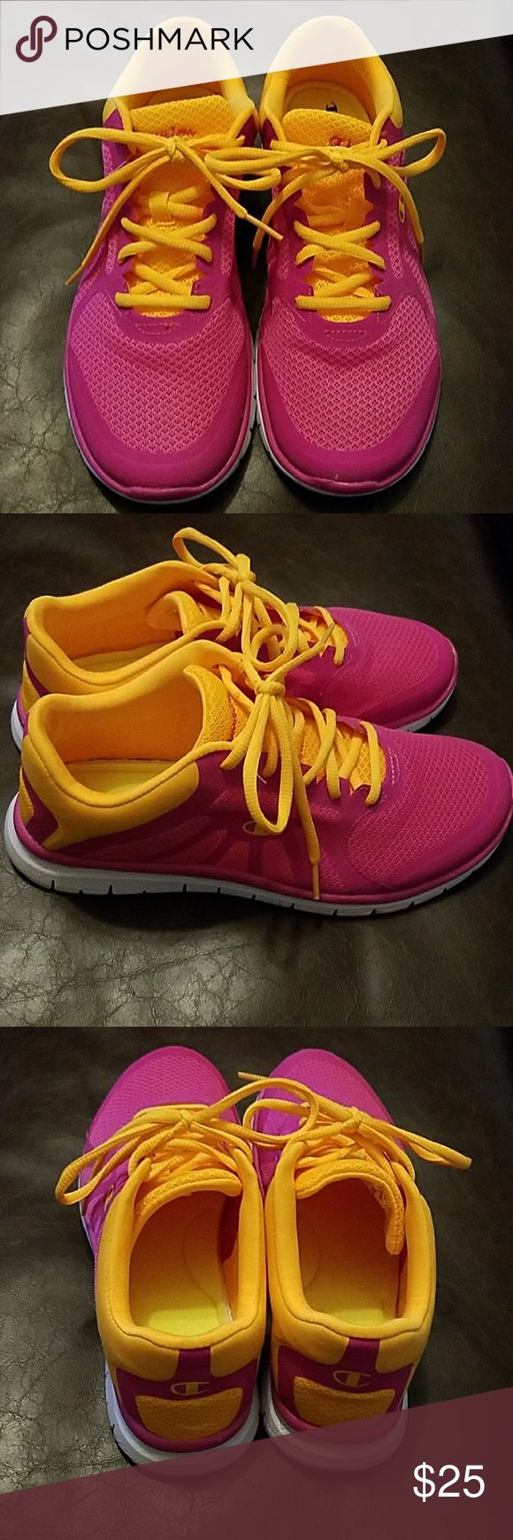 EUC Champion Pink & Orange Memory Foam Sneakers Pretty in pink super light weight breathable sneakers with memory foam soles! Feel free to make a reasonable offer or bundle for a discount! Champion Shoes Athletic Shoes