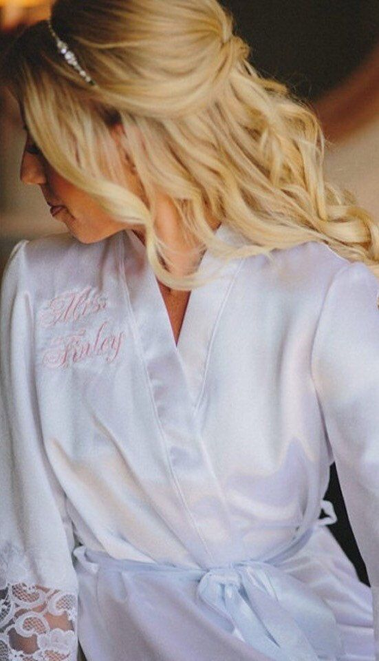 Embroidery Options for Bridesmaid and Bride Robes, personalized robe, custom nomogram on front of robes.