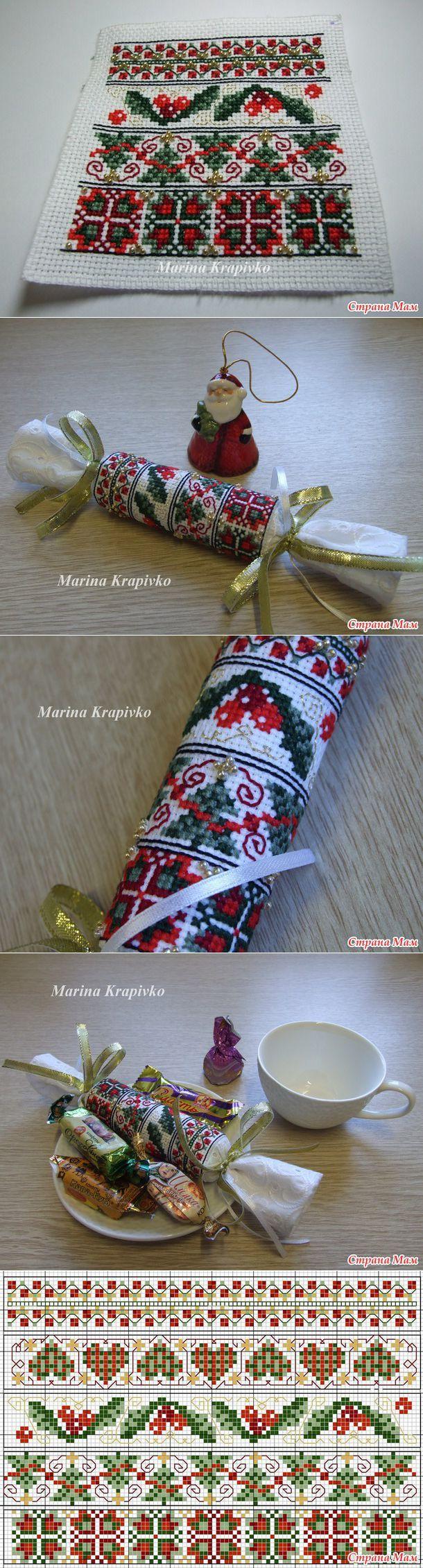 Бискорню новогодние вышивка