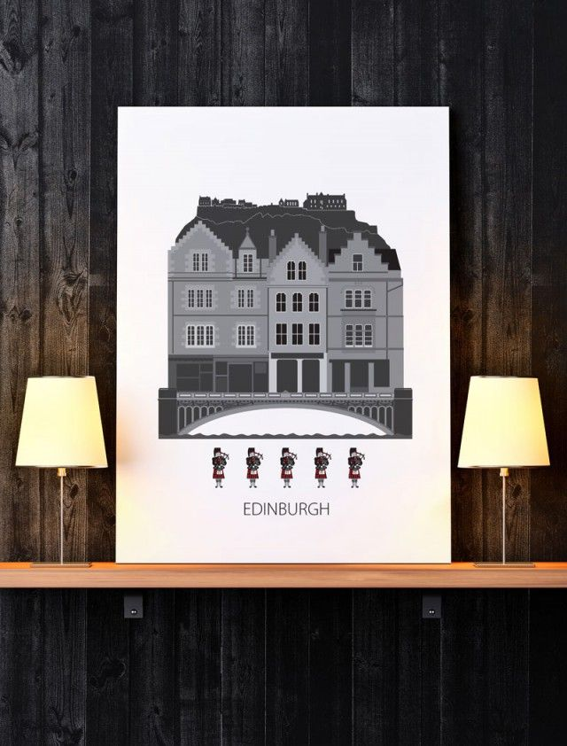 This Monday I'm feeling a wee bit homesick. Edinburgh was my home for many years and this poster Edinburgh by Forma Nova brings back many happy memories and the designer has really captured the essence of the place.