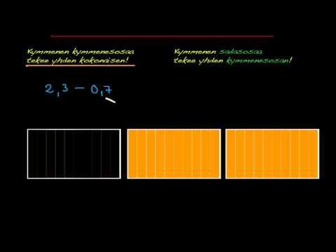 ▶ Desimaalilukujen vähennyslasku, osa 1. - YouTube (video 1:36).