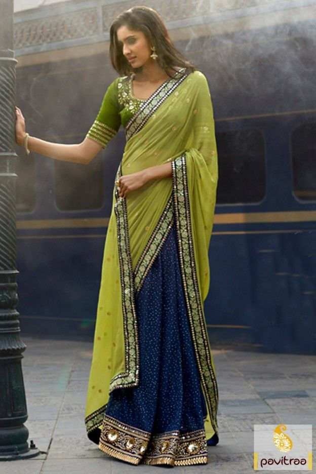 Stylish olive blue color georgette contemporary saree online at low price. Latest designer sarees in UK, UAE, USA, Australia, Canada, Singapore and Malaysia with exciting offer prices. #saree, #designersaree more: http://www.pavitraa.in/store/designer-collection/