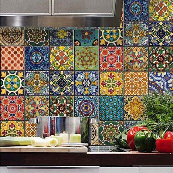 Check out these kitchen tiles, they look amazing! #interiorinspiration #tiles #eclectickitchen #backsplash #interiordesign #kitchen #multicolouredtiles #multicoloured #interiors #interiorstyling