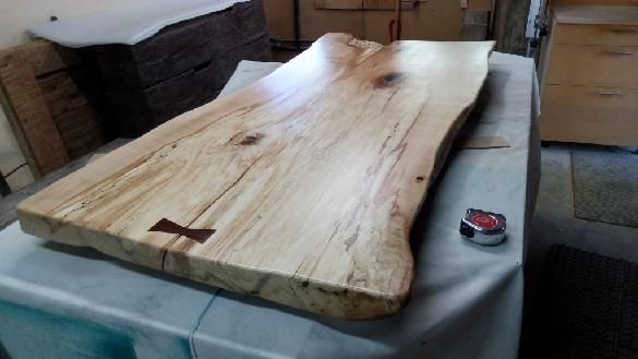 spalted maple live edge coffee table top with cocobolo butterfly joint