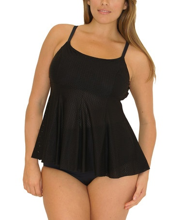 Take a look at this Black Peplum Fit 4 Ur Tummy Plus-Size Tankini by Fit 4 U on #zulily today!