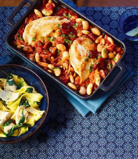 Chicken-butter-bean-and-chorizo-bake. I would add a few more ingredients, like garlic, some red pepper flakes, and more seasoning.