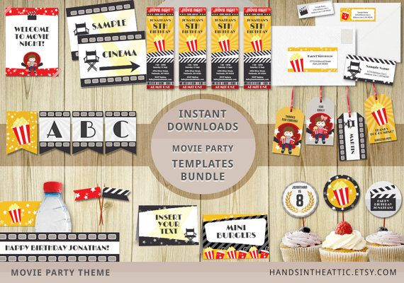 Movie party templates bundle editable downloads cinema theme party printables movie night package INSTANT download movie party props PDF by HandsInTheAttic