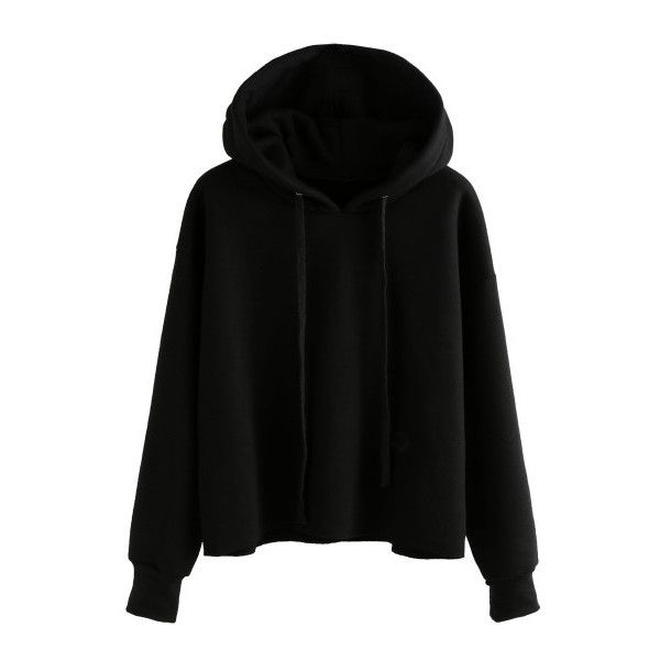 SheIn(sheinside) Black Drawstring Hooded Sweatshirt ($16) ❤ liked on Polyvore featuring tops, hoodies, black, long sleeve tops, sweater pullover, long sleeve hoodie, long sleeve hooded sweatshirt and hoodie pullover