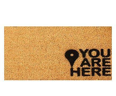 Zerbino in fibra di cocco You are Here, 60x40 cm