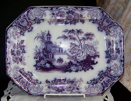 Antique Flow Mulberry Purple Transferware Staffordshire