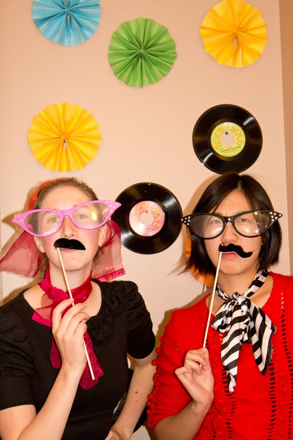 Our 50's themed photo booth with DIY backdrop