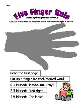Five Finger Rule worksheet for choosing a just right for me book!