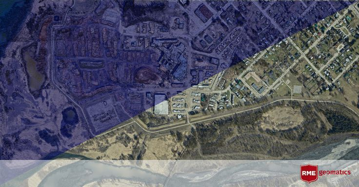 A Digital Surface Model (DSM) and a rendered image overtop of the DSM of a Mill with surrounding urban area.  3D images possess a wealth of survey information!