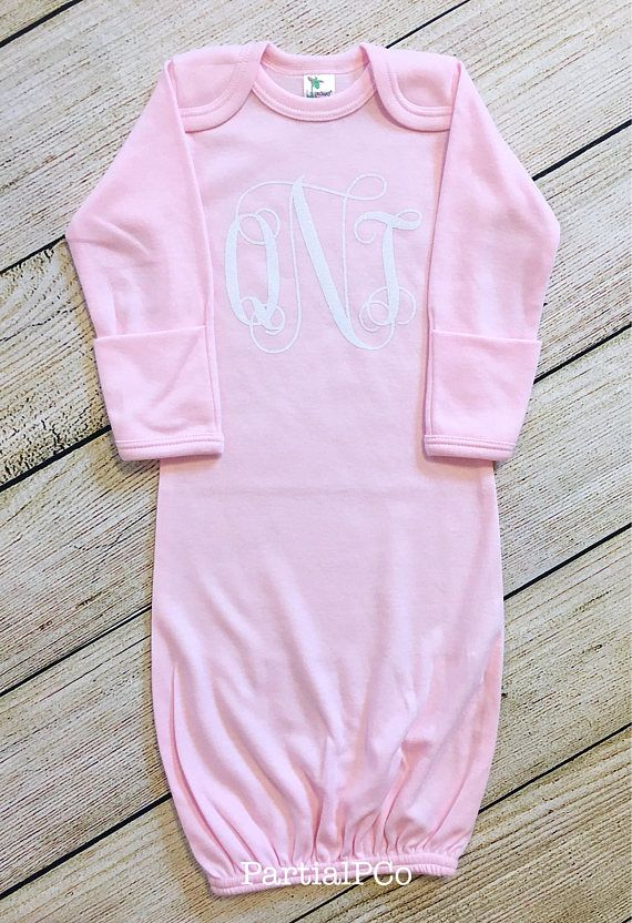 f92e7724f8ef2 White Glitter Monogram Gown newborn