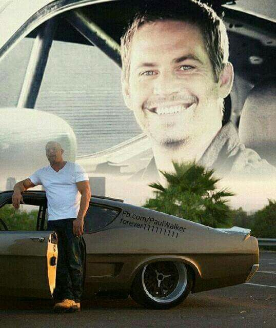 Vin Diesel with Paul image in back..