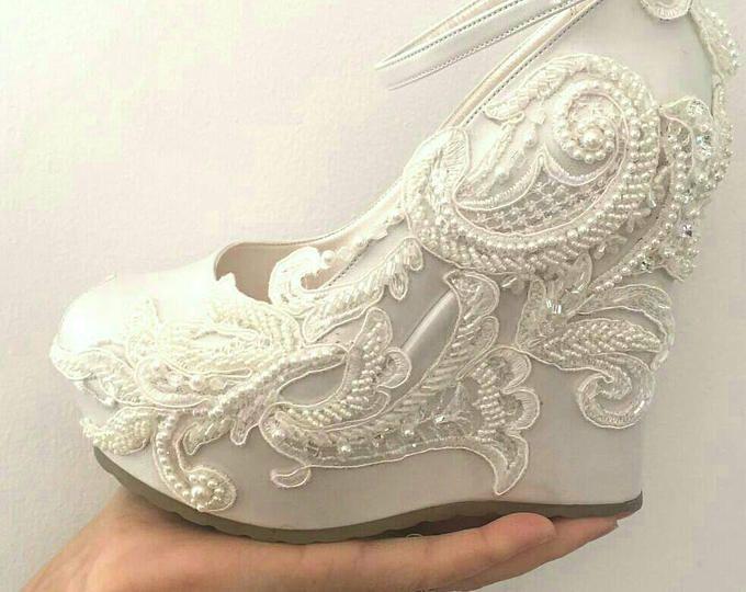 Cuñas de Marfil boda cuña, cuñas, cuñas novia, zapatos de novia, cuñas de plataforma nupcial, nupciales marfil cuñas, zapatos boda, zapatos de